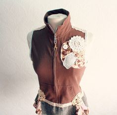 Women's, bohemian, upcycled, brown with cream vintage lace, vest in size medium.