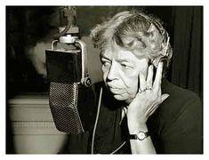 Eleanor Roosevelt talking on the radio.