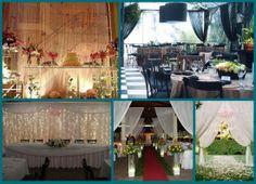 Cortinas transparentes, cortinas de cristal ou cortinas de luzes, dão um ar de fantasia ao casamento.