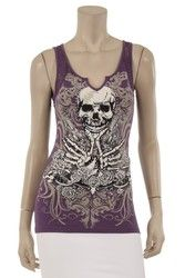 Tank top, skull motorcycle top with bling, plus size