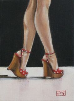 Walk Tall, red shoe series by jacqui faye, painting by artist jacqui faye