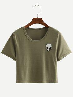 Kurzarm Crop T-Shirt Rundhals mit Alien Druck - German SheIn(Sheinside)