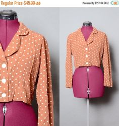 20% OFF SALE Crop Top 80's Polka Dot Blouse 1980's Shirt Vintage Women's Pearl Button Long Sleeve Medium Made in USA Fashion Top by HankAndGeorge on Etsy https://www.etsy.com/listing/230791150/20-off-sale-crop-top-80s-polka-dot