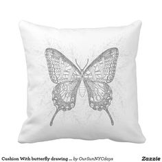 Pillow Cushion With butterfly drawing Throw Pillow