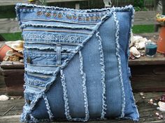 Denim pillow sham. Made using repurposed by TatteredSisters, $22.00