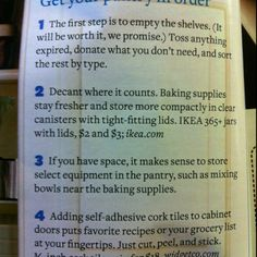 Organization ideas for the pantry from Nov. BH&G