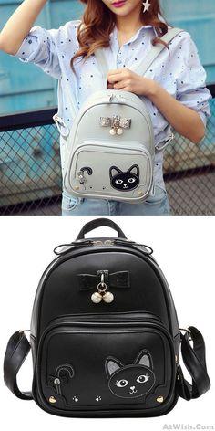 Cheap Sweet Girl's Kitten PU Fresh Cute Cat Stereo Bowknot Pearl Pendant School Backpack For Big Sale! College Backpacks, Boys Backpacks, Travel Backpack, Fashion Backpack, Pearl Pendant, Sweet Girls, Kitten, Student, Fresh