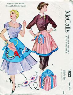 Vintage Pattern McCalls 1822 - 1950s Apron Holiday Fashion for Christmas