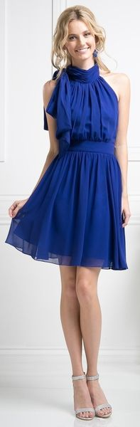 This cute dress in royal-blue features an above the knee look with an A-line silhouette. The pleated chiffon creates a halter top with a side tie at the neck. A chiffon belt accents the waistline. This dress is great for Halter (Short), A Line (Short), Ne Cute Dresses, Short Dresses, A Line Shorts, Royal Blue Dresses, Bridesmaids, Evening Dresses, Chiffon, Cocktail, Weddings