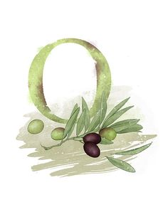Letter O Art Print, Olive, Nature Theme Alphabet Art