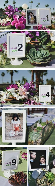 photographs of the couple at different ages for table numbers