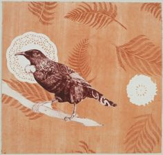 Vanessa Edwards, I Te Ata Nei, etching and monoprint (framed) on 340 x 355 mm paper, 1 of 1, 2010. Sold.