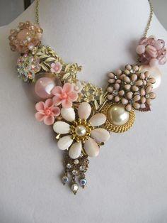Jewelry, Bib Necklace,  Womens Necklace, Collage, Bib, Ooak, Repurposed, Assemblage, Vintage, Statement, Formal, Prom, Wedding, Bride