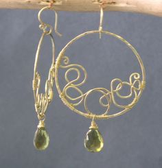 Nouveau+171+Hammered+Squiggle+Hoops+by+CalicoJunoJewelry+on+Etsy,+$134.00