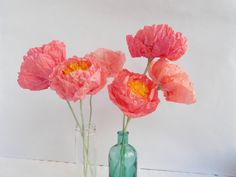 1 piece of bright pink peony Paper flower by MyrtleAndQuince