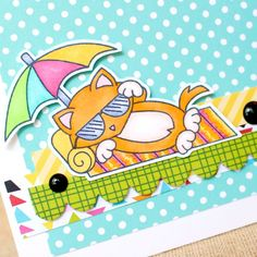 Summer Cat Card By Tessa Wise For Newtons Nook Designs Blog Hop