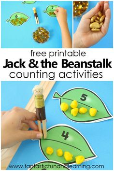 Jack and the Beanstalk Preschool and Kindergarten Counting Activities. Free printable to use for counting creating sets comparing and more. Preschool Reading Activities, Kindergarten Counting, Fairy Tale Activities, Counting Activities, Free Preschool, Preschool Themes, Preschool Science, Preschool Lessons, Preschool Activities