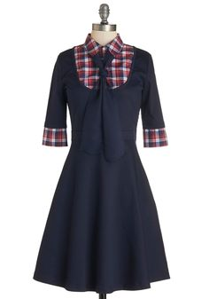 Expert in Your Field Trip Dress. Lead your class through a museum tour with confidence in this navy-blue dress! #blue #modcloth