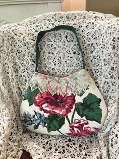 Handmade vintage nubby hibiscus barkcloth crochet lace handbag shoulder bag by Linensandlooms on Etsy