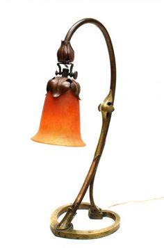 Grande Lampe bronze pâte-de-verre DAUM ☨ NANCY époque Art Nouveau 1900-10