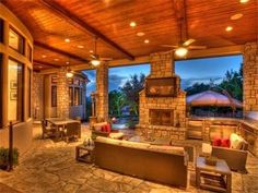 I love the idea of an outdoor patio/room. A place where I could grill with a roof over my head. Would be better for a slightly warmer climate so that more use could be made of it in the year. Unique House Plans, Dream House Plans, My Dream Home, Huge Houses, Design Your Own Home, Mediterranean House Plans, Spanish Style, Beautiful Architecture, My House