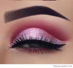 Pink and glitter eye makeup style