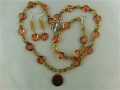 Russet and Topaz Heart and Dragonfly 3 Piece Jewellery Set £27.50