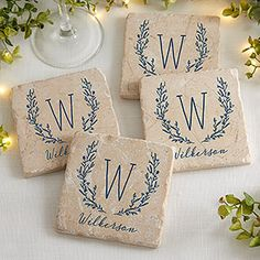 Shop for farmhouse coasters at Bed Bath & Beyond. Buy top selling products like Personalized Floral Farmhouse Tumbled Stone Coaster Set and Thirstystone® Dolomite Square Coaster Collection. Photo Coasters, Stone Coasters, Custom Coasters, Wood Coasters, Coaster Furniture, Diy Furniture Projects, Tile Projects, Farmhouse Coasters, Farmhouse Decor