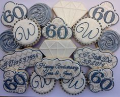 Items similar to Monogram Letter Wedding Cookies, 1 dozen, Decorated Sugar Cookies, Cookie Favors, Wedding Bridal Shower Initial Letter Personalized on Etsy 60th Anniversary Parties, 60 Wedding Anniversary, Anniversary Decorations, Anniversary Jewelry, Diamond Anniversary, Anniversary Ideas, 50th Anniversary Cookies, Anniversary Surprise, Wedding Cookies