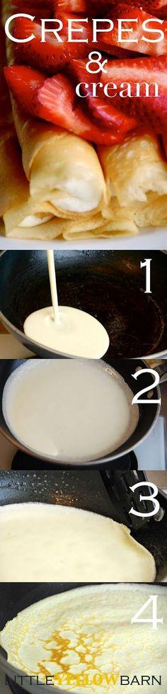 Crepes: 4 eggs 1/2 c butter, melted 1/3 c sugar 1 c flour 1 c milk 1/4 c water 1 tsp. vanilla dash of salt