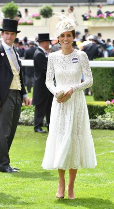 Catherine, Duchess of Cambridge, wearing Dolce & Gabbana dress & Jane Taylor millinery, Royal Ascot 2016 - Day 2