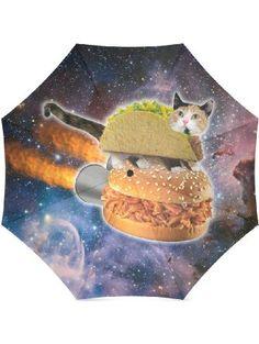 Funny Taco Cat in Space Compact Umbrella Folding Travel Rain/Sun Umbrella Anti-uv, Windproof Rainproof Umbrella ❤ Fashion Folding Umbrella