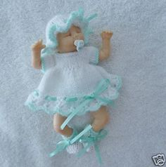 "Hand knitted dolls clothes to fit  6"" ooak sculpt baby"