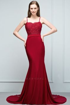 Mermaid Charmeuse Lace Spaghetti-Straps Sweetheart Sleeveless Floor-Length Bridesmaid Dresses with Beads   Yesbabyonline.com