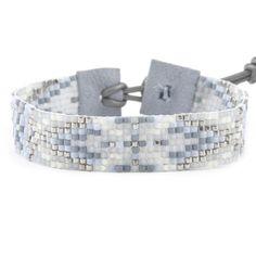 LIGHT BLUE MIX SINGLE WRAP BRACELET ON BLUE GREY LEATHER - Chan Luu
