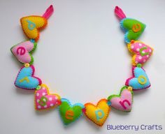 Personalised Heart Banner (Brights) - 5 Hearts - The Supermums Craft Fair