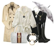 Días de Lluvia by outfits-de-moda2 on Polyvore featuring moda, Burberry, D&G, Hunter, Baby Phat and Fendi