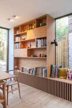 Cozy Home Interior Bespoke-Oak-Bookshelf-Large-Window-Dinning-Area-Door-Garden.Cozy Home Interior Bespoke-Oak-Bookshelf-Large-Window-Dinning-Area-Door-Garden Office Interior Design, Office Interiors, Retail Interior, Interior Ideas, Built In Furniture, Furniture Design, Modular Furniture, Furniture Plans, Oak Bookshelves