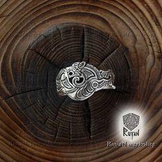 Fenrir Ring. Viking Wolf ring Wolf head ring. Viking Wolves