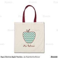 When the school year comes to an end everyone is looking for a nice gift for their favorite teacher. The aqua chevron apple teacher tote bag makes a special personalized gift they will always remember you by. Easily personalize this item with your teachers name.