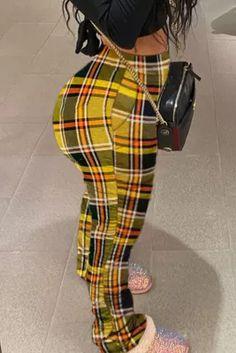 Fashion Printing Mid Waist Plaid Skinny Trousers Plaid Fashion, Blue Fashion, Fashion Outfits, Style Fashion, Tankini, Yellow Pants, Sensual, Fashion Prints, Daily Wear