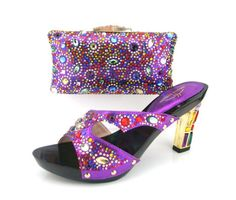 89.32$  Buy here - http://ali9xt.worldwells.pw/go.php?t=32546458723 - FREE SHIPPING!MD015-228 purple Italian Shoes With Matching Bag High Quality For party wedding Italy Shoes And Bag For Evening.