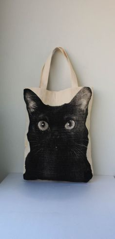 canvas cat tote from etsy