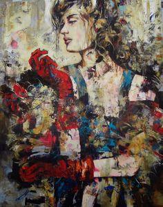 Céline Brossard, Celine, Mixed Media Art, Medieval, Portrait, Abstract, Creative, Painting, Woman, Art