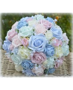 Katie - Stunning Brides Bouquet of Rose and Rosebuds in Your Choice of Colours with Babies Breath Multicolour