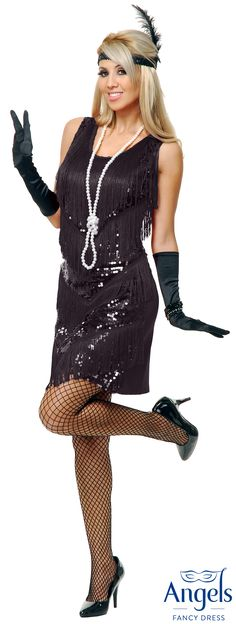 Adult White SHOWTIME FLAPPER Short Fancy Dress Jazzy Ladies Costume UK 6-24