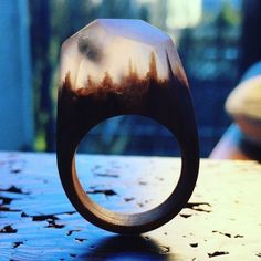 Amazingly Beautiful Miniature Snowy Worlds Trapped Inside Wooden Rings by MySecretWood. l #rings #jewelry #secretworlds #miniature