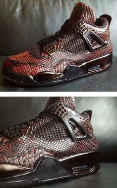 """Here is a detailed look at a pair of custom Air Jordan IV 4 """"Eiffel Tower"""" Snake Skin Sneakers designed by Revisited, these are amazing! Jordan Swag, Jordan Iv, Sneakers Mode, Sneakers Fashion, Nike Free Shoes, Nike Shoes, Zapatillas Jordan Retro, Custom Jordans, Nike Air Jordans"""