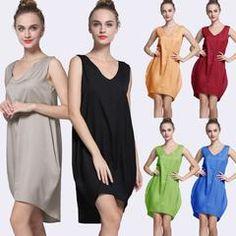 V Neck Loose Asymmetric Shift Mini Dress Mini ceabf01d5a98