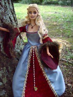 """Lady Isobel"" Tudor Repainted/Hair Restyled Barbie Doll an d Costume - by Morgan May @ Stardust Dolls - http://www.stardustdolls.com"